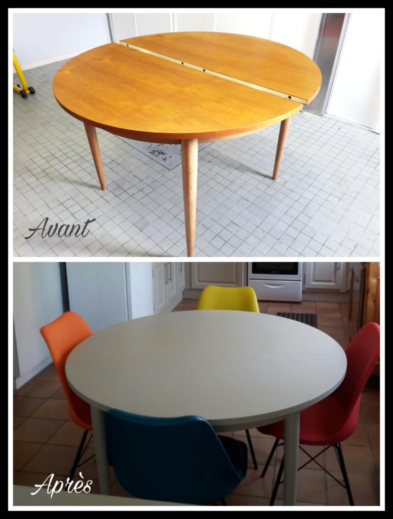 Table ronde relookée Karine Décoration