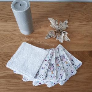 Lingettes lavables pour bébé ou maman aux motifs de fées en coton éponge biologique