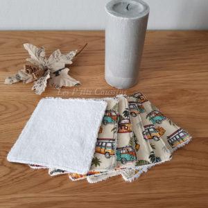 Lingettes lavables pour bébé ou maman, motifs de combi-vw et planches de surf