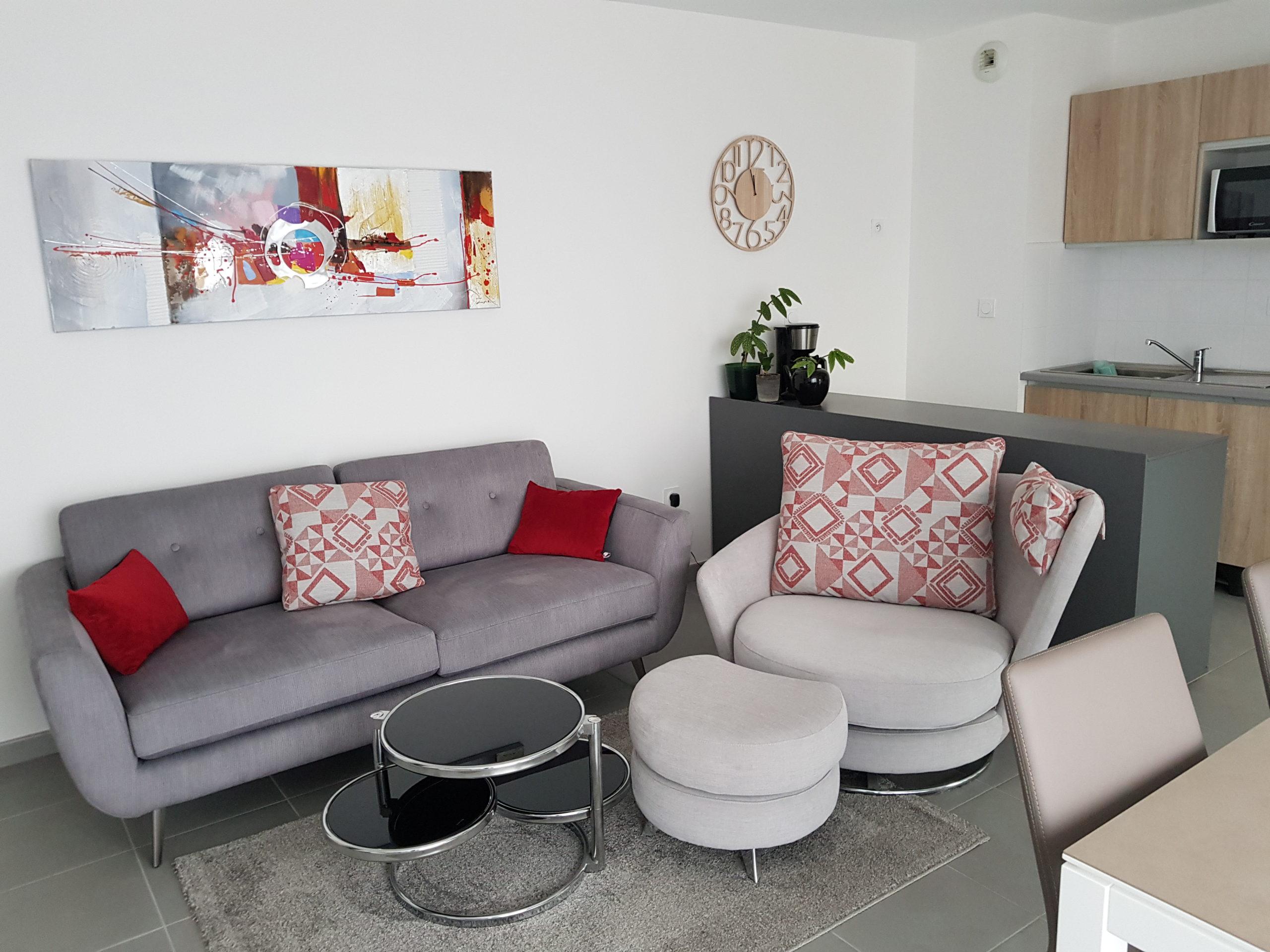 salon moderne gris et rouge karine décoration