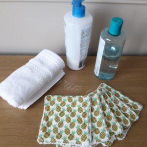Lingettes lavables en coton éponge bio pour bébé ou maman motifs ananas