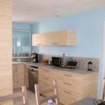 Cuisine aménagée dans petit espace ouvert sur pièce de vie à Corsept