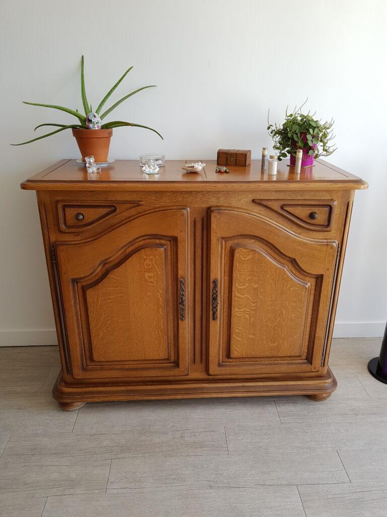 meuble en chêne avant relooking karine décoration