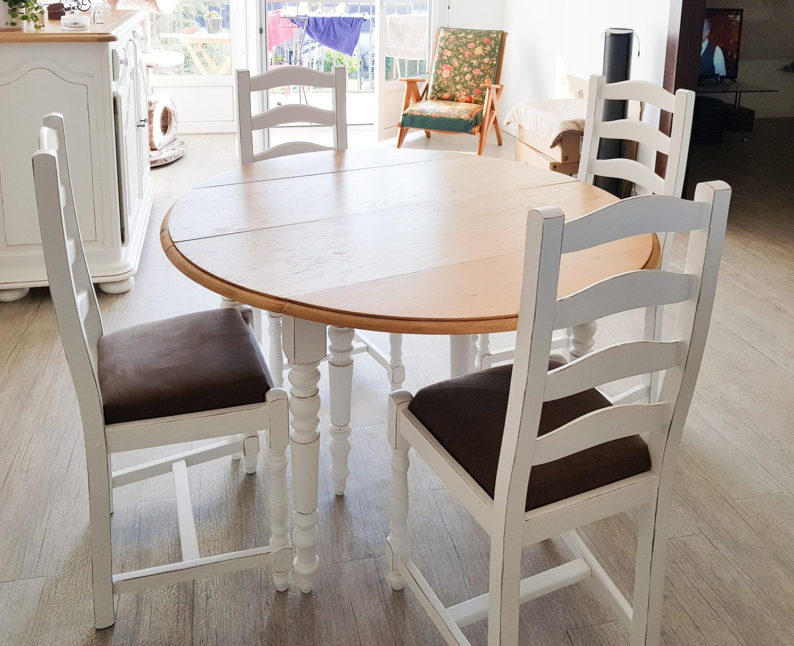 table et chaises relookées karine décoration