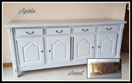 meuble relooké en gris, effet cérusé blanc, karine méteyer,